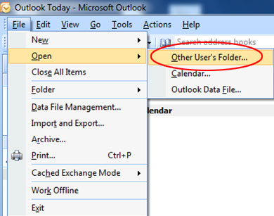 Open Other Users Folder Outlook 2007