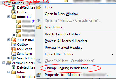 Outlook 2007 Mailbox Permissions