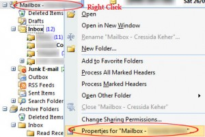 Outlook 2007 Properties for Mailbox