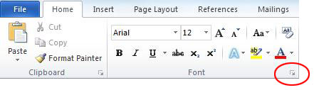 Font Dialog Launcher in Microsoft Word 2010