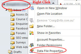 Outlook 2010 Data File Properies