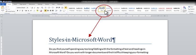 Styles in Microsoft Word example